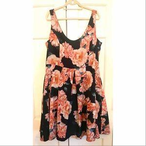 City Chic Peach Roses Dress 22W